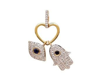 Valentine Jewelry 14k Gold Platinum 92.5 Sterling Silver Pave Setting Natural Diamond Heart Hamsha Evil Eye Pendant Combo Pack Jewelry