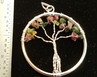 Multi-colored Tourmaline Tree of Life Necklace