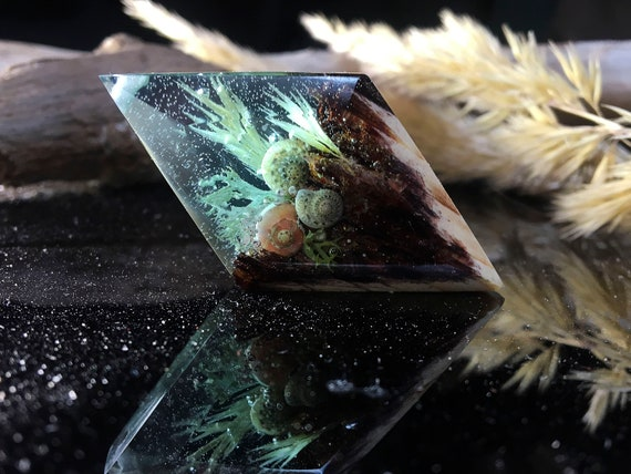 Eco epoxy jewelry The secret of the magical world in a tiny landscape Blue Wood Northern Lights Nature/'s grove wooden resin pendant