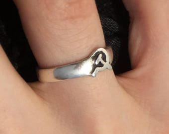 Hammer and Sickle Ring – Handmade Sterling Silver, 14K Gold, Bronze and Brass