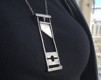 """Handmade Guillotine Pendant Necklace: The Hungry Lady w/ 18"""" chain – Sterling Silver (925)"""