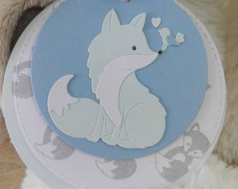 Personalized round baptism - Fox/bird + envelope or birth announcements