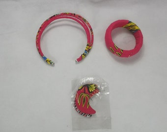 Earrings, necklace  and bracelet set in Dashiki print, handmade jewelery set, Art-Nr. JEW-28655