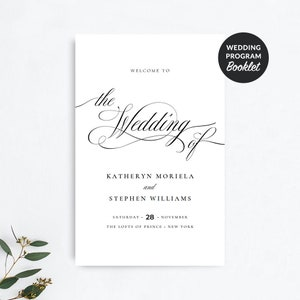 wedding program booklet template etsy