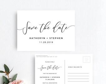 Save The Date Postcard Printable Template, Save The Date Postcard Printable Template, DIY Save The Date Postcard Template Modern Calligraphy