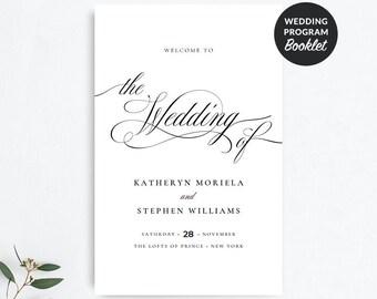 Classic Wedding Program Booklet Template | Folded Wedding Programs | Elegant Wedding Ceremony Program | Traditional Wedding Program | JP006