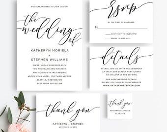 Rustic Wedding Invitation Suite | Printable Wedding Invitation Set of PDF Templates | Black and White Elegant Wedding Invitation Kit | JP005