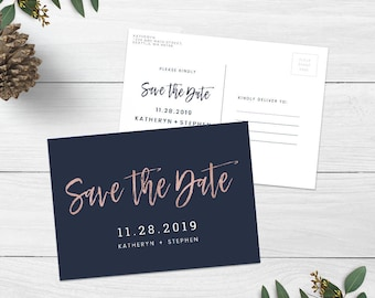 Navy Blue & Rose Gold Wedding Save The Date Postcard Printable Template, Modern Calligraphy Save The Date Postcard Printable PDF Templates