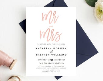 Mr & Mrs Wedding Invitation Printable Template, Rose Gold Calligraphy Wedding Invitation Template, Printable Invites PDF Instant Download