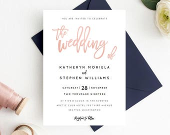 Rose Gold Wedding Invitation Printable Template, Calligraphy Wedding Invitation Template, Editable Wedding Invitation PDF Instant Download