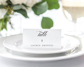 Wedding Place Card Printable Template, Classic Table Number Name Card Seating Card. Flat & Tent place card PDF Template Instant Download.