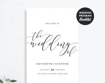 wedding program booklet template folded wedding programs etsy