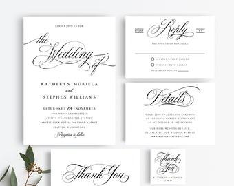 Wedding Invitation Suite Templates, Elegant Wedding Invitations Templates, Printable Wedding Invitations, Calligraphy Script Invitations