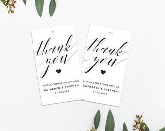 greenery wedding thank you tags template download printable etsy