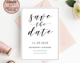 Floral Wedding Save The Date Template Download Printable Etsy