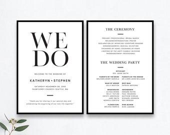 minimalist wedding program templates printable minimal wedding ceremony program templates modern simple wedding program templates
