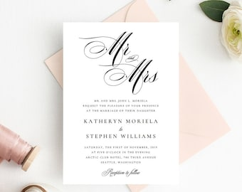 classic elegant wedding invitations printable template etsy