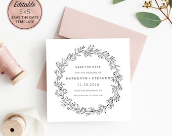 modern wedding save the date card template download printable etsy