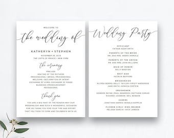 Printable Wedding Program Templates Rustic Wedding Program Etsy