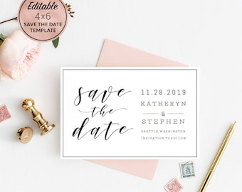 modern wedding save the date card template download printable editable pdf wedding save the date calligraphy save date instant download
