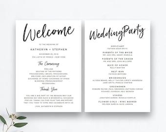 wedding programs printable etsy