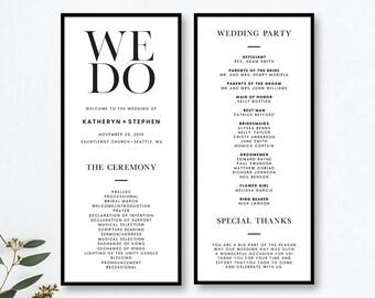 Wedding Program Template Etsy - Simple wedding ceremony program template