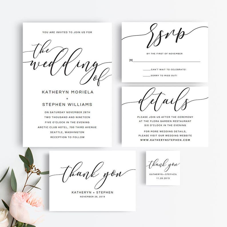 Printable Wedding Invitation Set  Black and White Rustic image 0