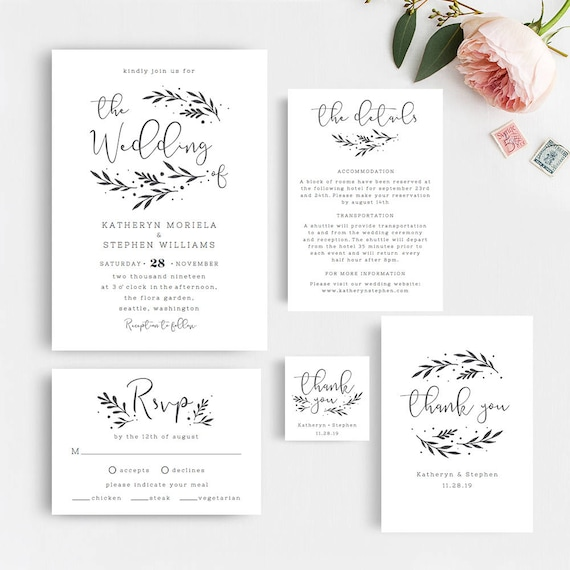 image regarding Etsy Wedding Invitations Printable referred to as Marriage Invites Printable Templates. Rustic Marriage Invites. Printable Marriage Invites, Black White Invites PDF Templates