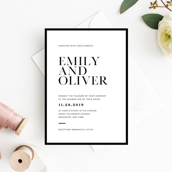 Minimalist Wedding Invitation Card. Modern & Simple