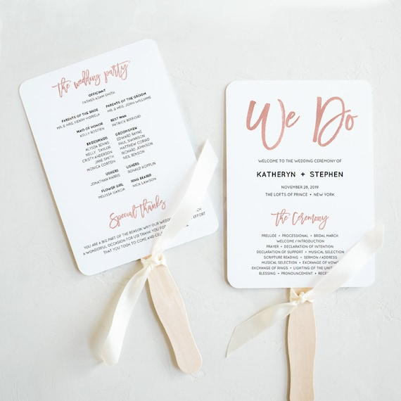 rose gold wedding program fan templates printable wedding etsy