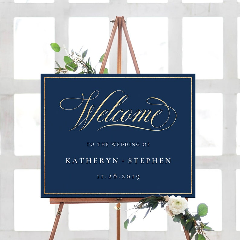 W27 Welcome to the Wedding Printable Templett Navy and Gold Wedding Welcome Sign Template Navy Welcome Board Instant Download
