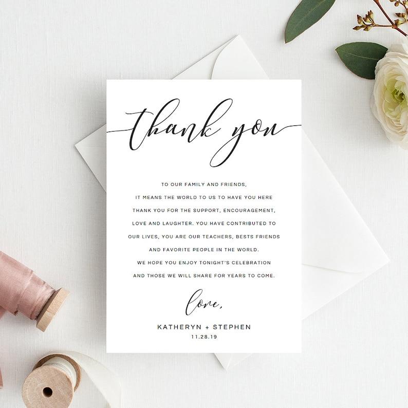 Wedding Thank You Cards.Wedding Thank You Notes Wedding Thank You Cards Calligraphy Script Wedding Thank You Cards Printable Template Diy Wedding Thank You Card