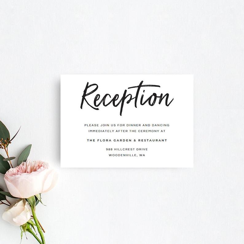 Printable Wedding Reception Card Rustic Wedding Reception Etsy