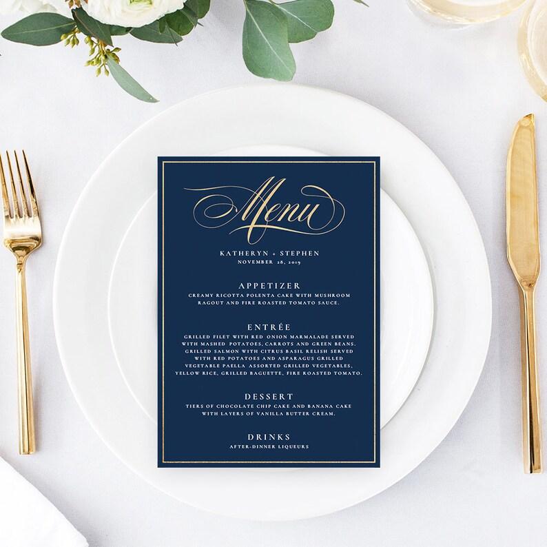 Navy Blue & Gold Wedding Menu Templates DIY Wedding Menu image 0