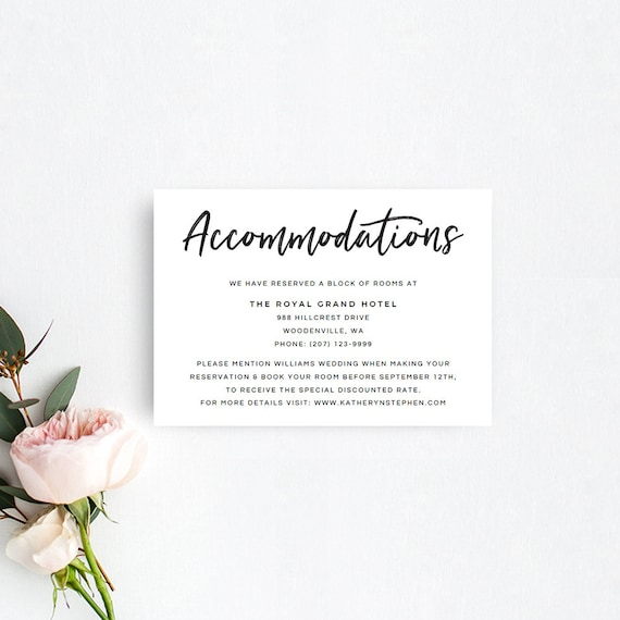 Printable accommodation card templates rustic wedding etsy image 0 maxwellsz