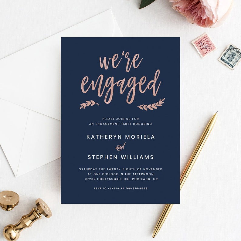 Navy Blue Rose Gold Engagement Party Invitation Templates Printable Invitations Modern Script Template