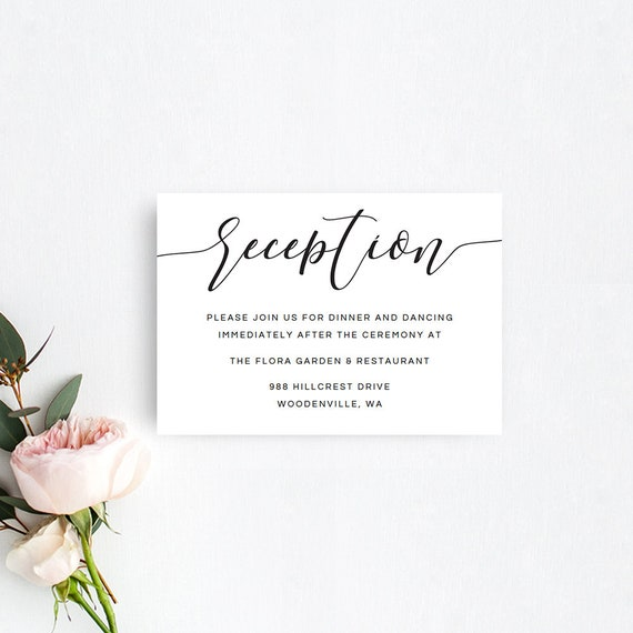 Wedding Reception Card Printable Wedding Reception Templates Etsy