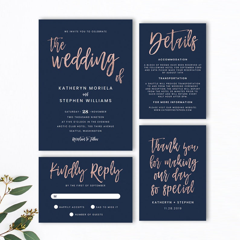 Wedding Invitation Templates.Navy Blue Rose Gold Wedding Invitation Templates Modern Script Wedding Invitations Templates Printable Wedding Invitation Templates