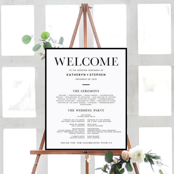 minimalist wedding program sign custom wedding program etsy