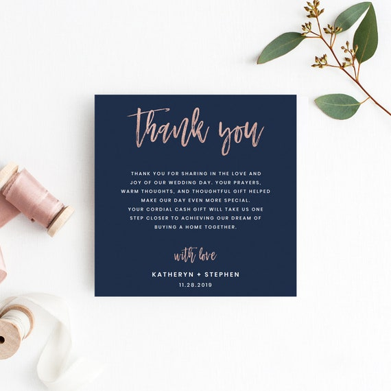 navy blue rose gold wedding thank you card templates modern etsy