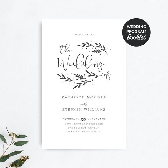 printable wedding program booklet templates rustic foldable etsy