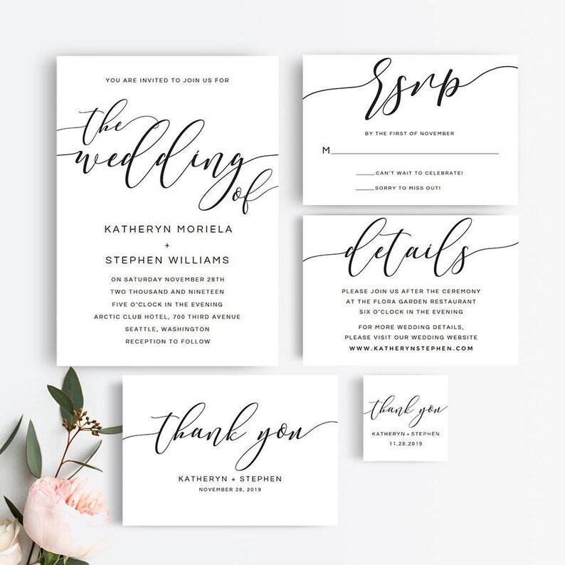 Rustic Wedding Invitation Suite  Printable Wedding Invitation image 0
