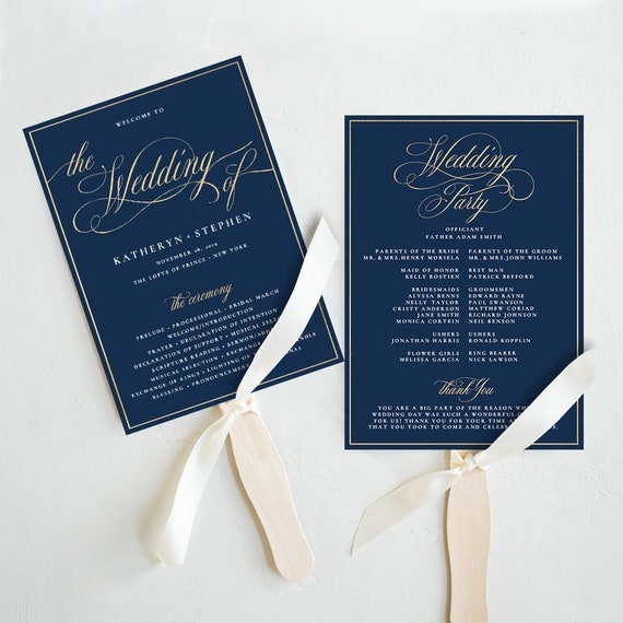 navy blue gold wedding program fan templates diy wedding etsy