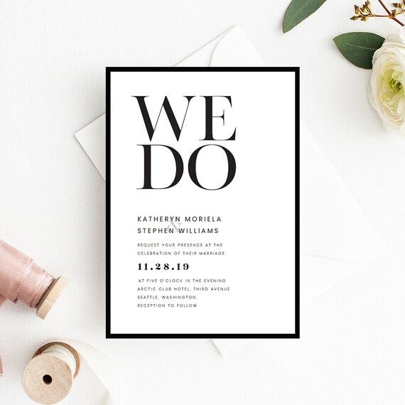 minimalist wedding invitation templates modern simple etsy