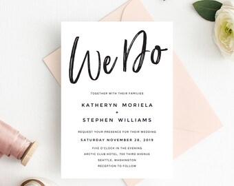 Rustic Wedding Invitations Printable Template, We Do Wedding Invitations Templates, Printable Wedding Invitation Templates, DIY Invitations