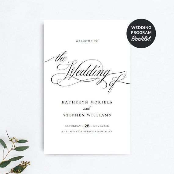 wedding program booklet template folded wedding programs etsy