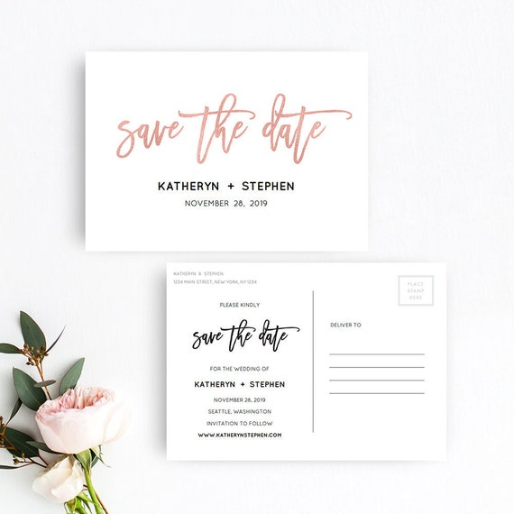 Rose gold save the date postcard templates printable save the etsy image 0 maxwellsz