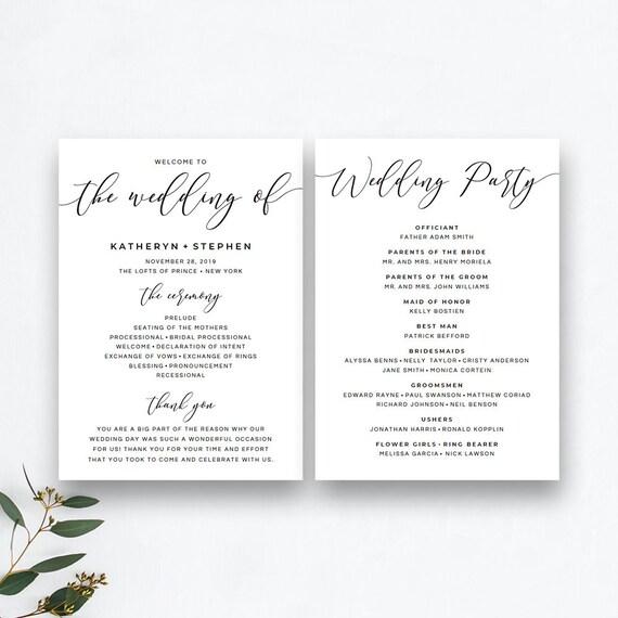 wedding programs template wedding ceremony programs etsy
