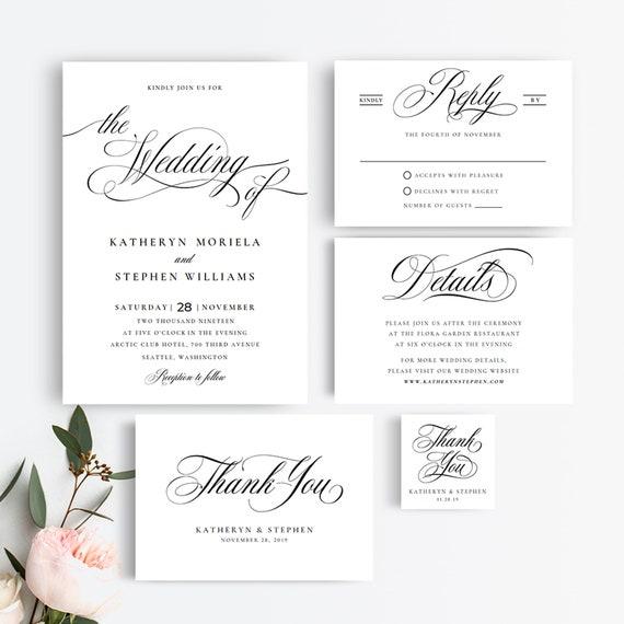 wedding invitation suite templates elegant wedding etsy