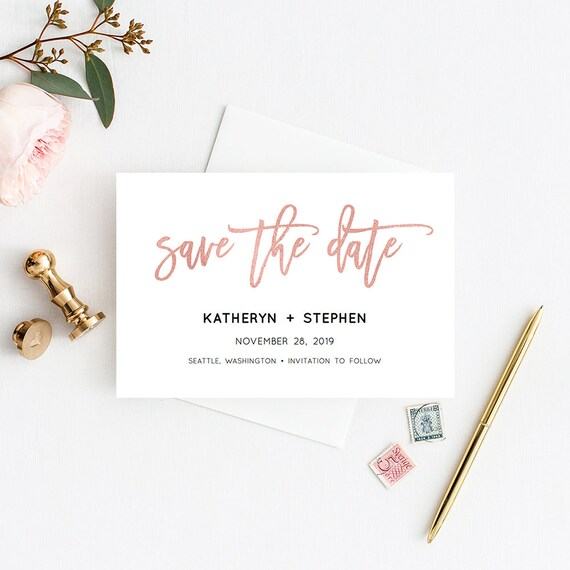 rose gold save the date templates printable wedding save the etsy
